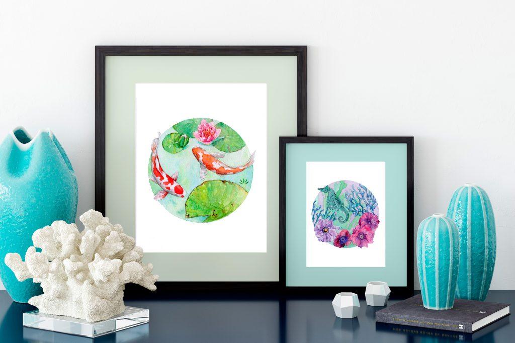 Aquarelles originales à encadrer de Jordane Desjardins