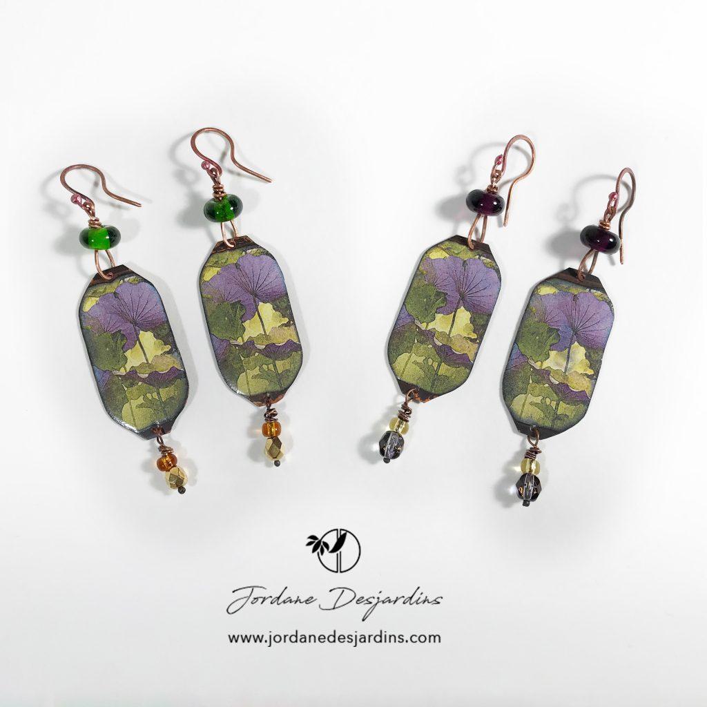 Boucles d'oreille lotus aquarelle création de Jordane Desjardins