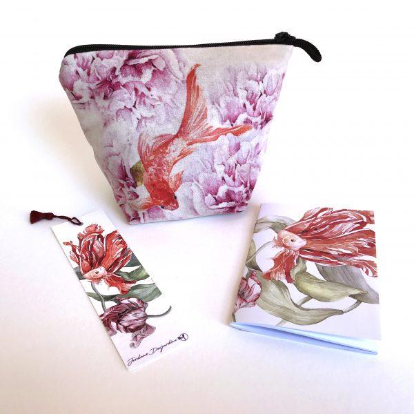 Pochette textile - marque-page - carnet - Aquarelle Jordane Desjardins
