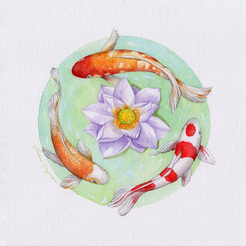 L'initié et le lotus - Aquarelle originale Jordane Desjardins