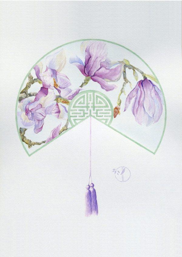 fleur Magnolia Cai aquarelle sur papier Jordane Desjardins