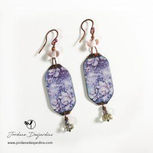 Boucles d'oreille anémones aquarelle de Jordane Desjardins