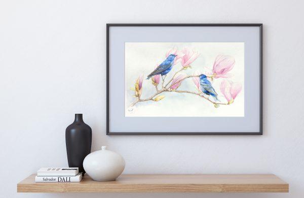 Passerin indigo sur branche de magnolia - Aquarelle Jordane Desjardins