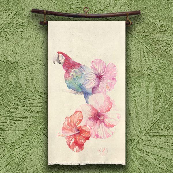Carcadé perroquet kakémono peinture Jordane Desjardins