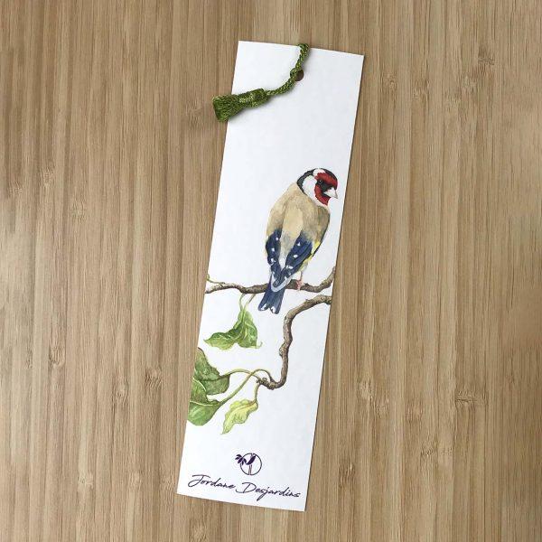 Oiseau Chardonneret élégant sur une branche de pommier aquarelle de Jordane Desjardins