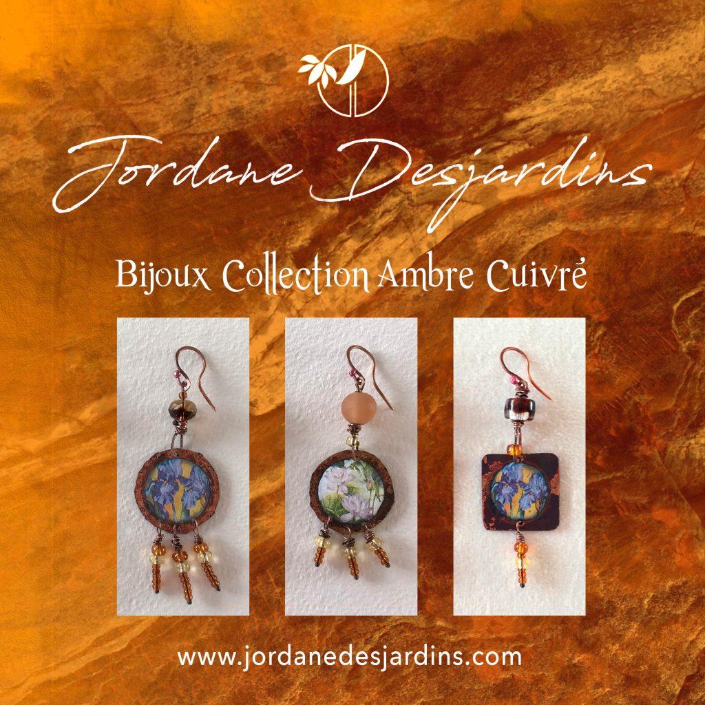 Collection bijoux ambre cuivré création de Jordane Desjardins