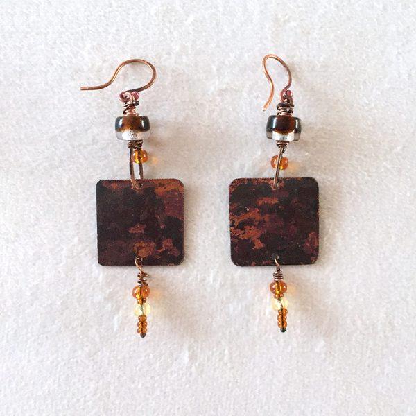 Boucles d'oreille Iris dos cuivre brut