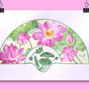 Eventail Lotus rose aquarelle sur papier Jordane Desjardins