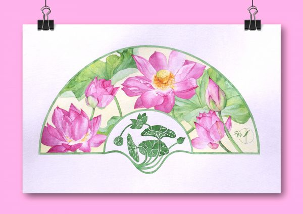 Eventail Lotus rose aquarelle sur papier Jordane Desjardins