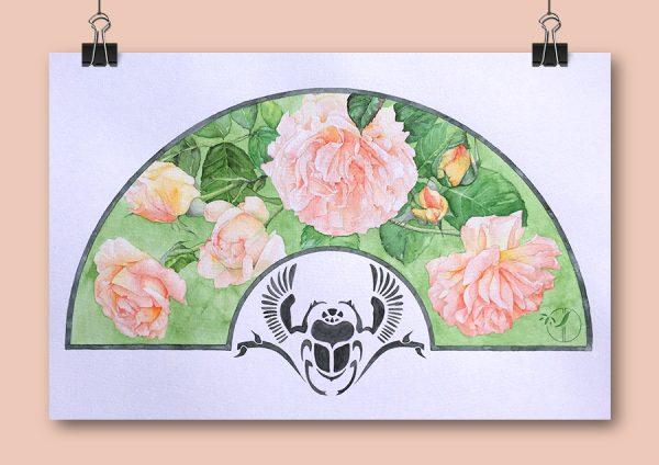 Roses et scarabée
