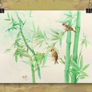 Moineaux et bambou aquarelle sur papier Jordane Desjardins