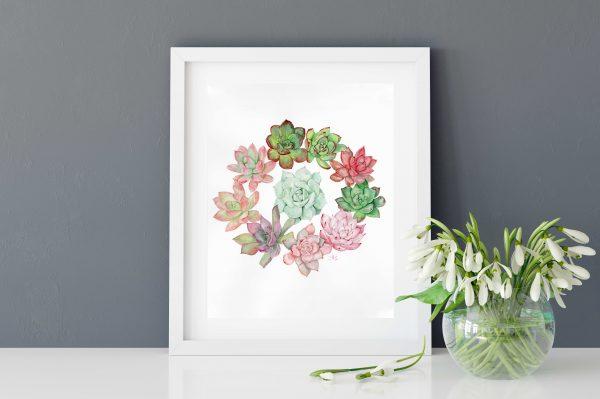 Couronne de succulents - Aquarelle originale de Jordane Desjardins