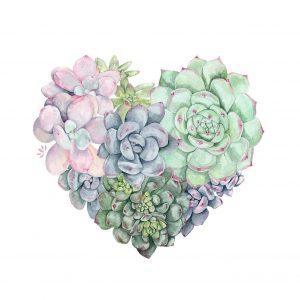 Cœur d'artichauts - Aquarelle originale de Jordane Desjardins