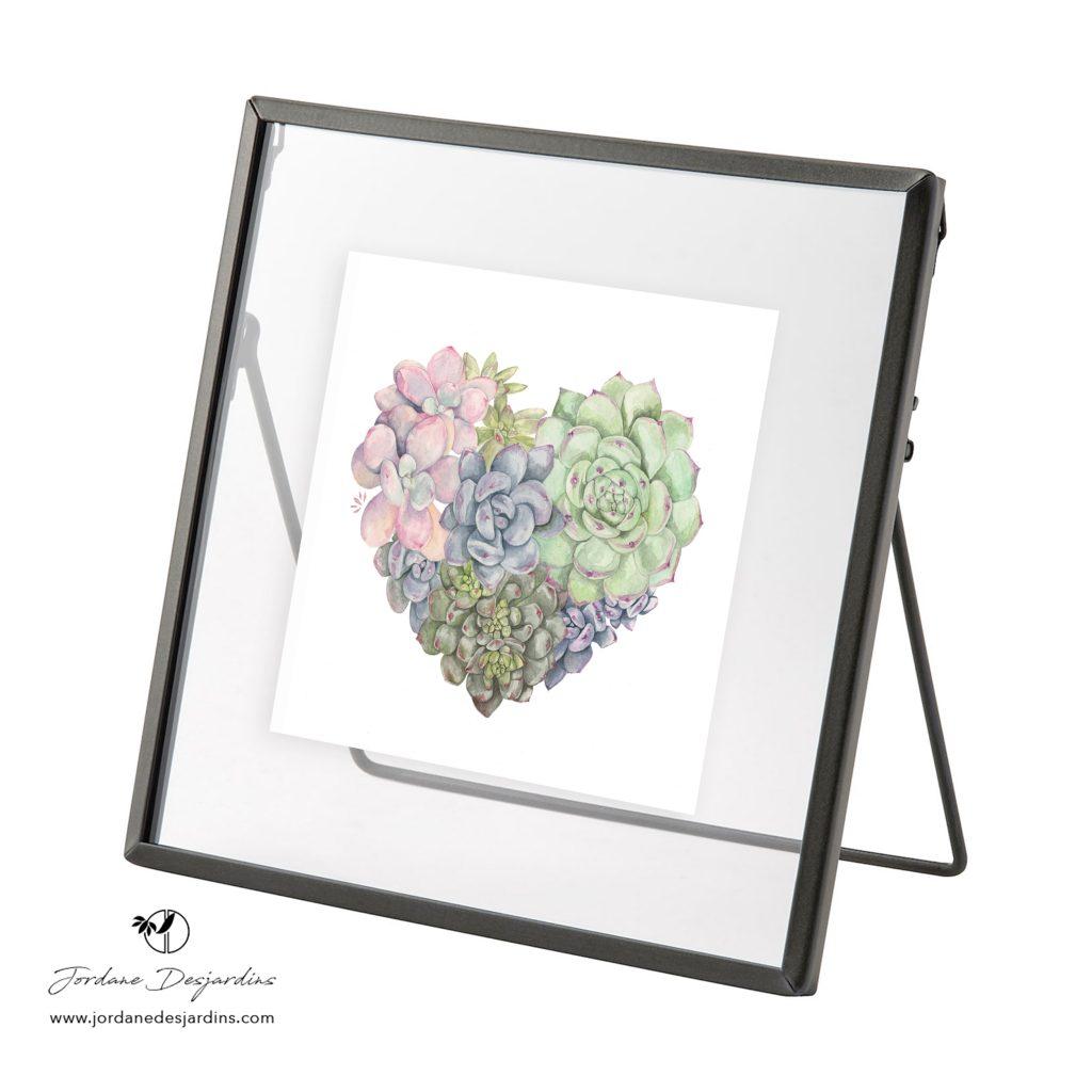 cadre métallique gris - Aquarelle cœur de Jordane Desjardins
