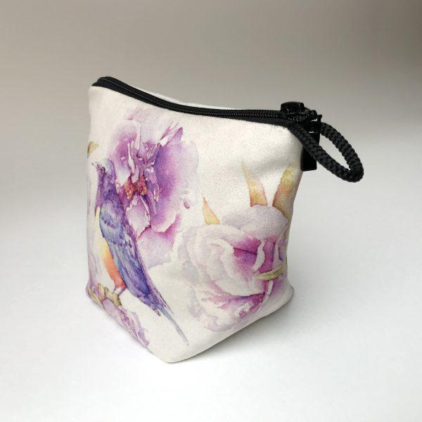 Pochette textile côté Pivoines oiseau - Aquarelle Jordane Desjardins