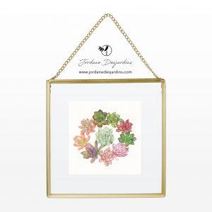 couronne de succulents - Aquarelle de Jordane Desjardins
