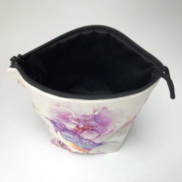 Pochette textile dedans - Pivoines oiseau - Aquarelle Jordane Desjardins