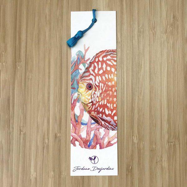 Marque page Poisson discus corail - aquarelle de Jordane Desjardins