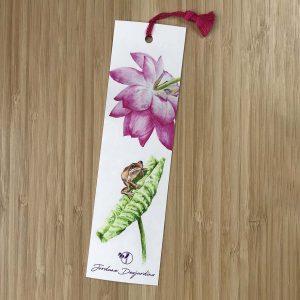 Marque page grenouille et lotus rose - Aquarelle de Jordane Desjardins