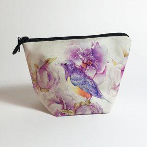 Pochette textile Pivoines oiseau aquarelle Jordane Desjardins