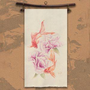 Flamenkoï Kakémono peinture toile coton de Jordane Desjardins