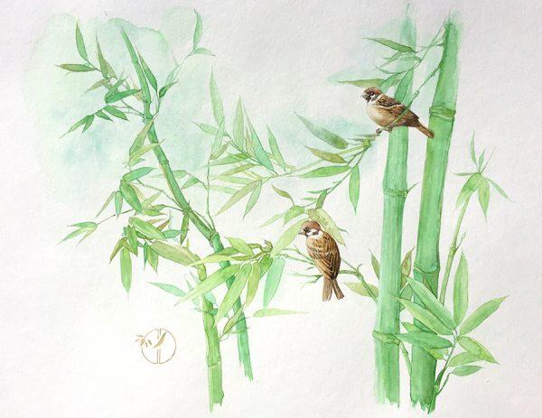 Aquarelle moineaux bambous