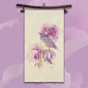 Pivoines oiseau kakémono peinture toile coton de Jordane Desjardins