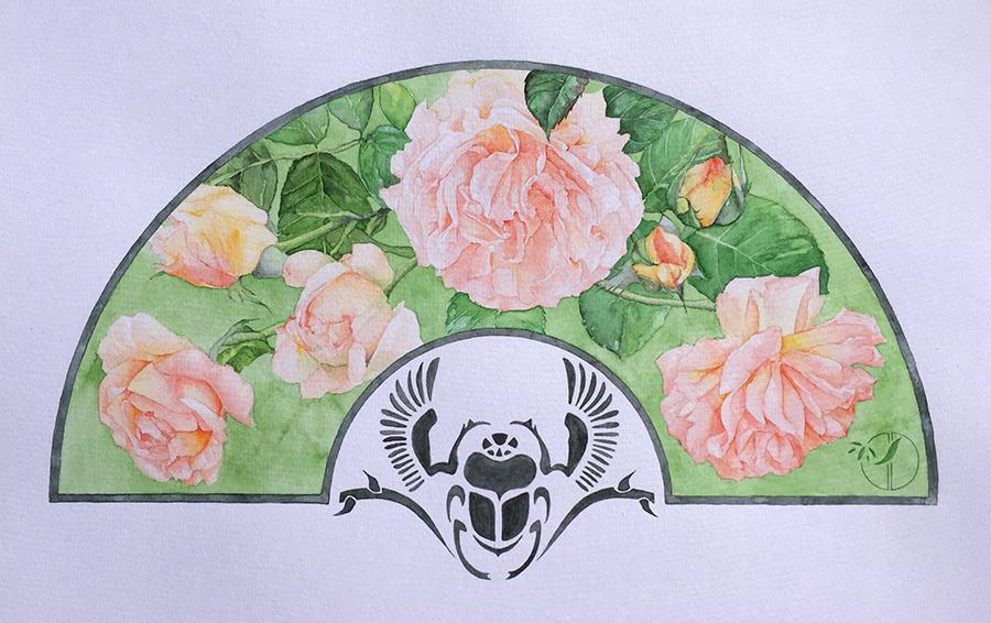 roses scarabée éventail aquarelle sur papier Jordane Desjardins