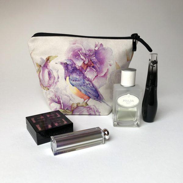 Pochette textile maquillage Pivoines oiseau - Aquarelle Jordane Desjardins